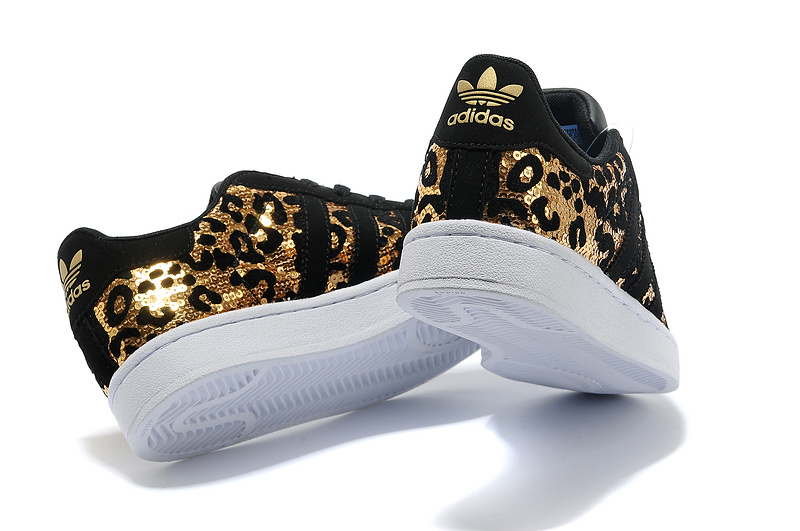 Men\'s/Women\'s Adidas Originals Superstar Sparkle Casual Shoes Black/Gold