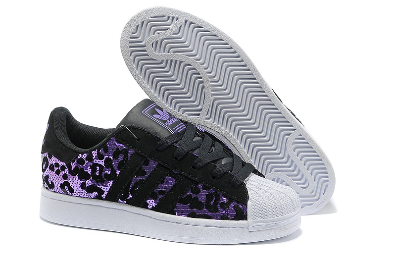Men's/Women's Adidas Originals Superstar Sparkle Casual Shoes Black/Purple