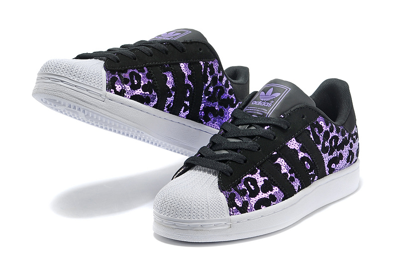 Men\'s/Women\'s Adidas Originals Superstar Sparkle Casual Shoes Black/Purple