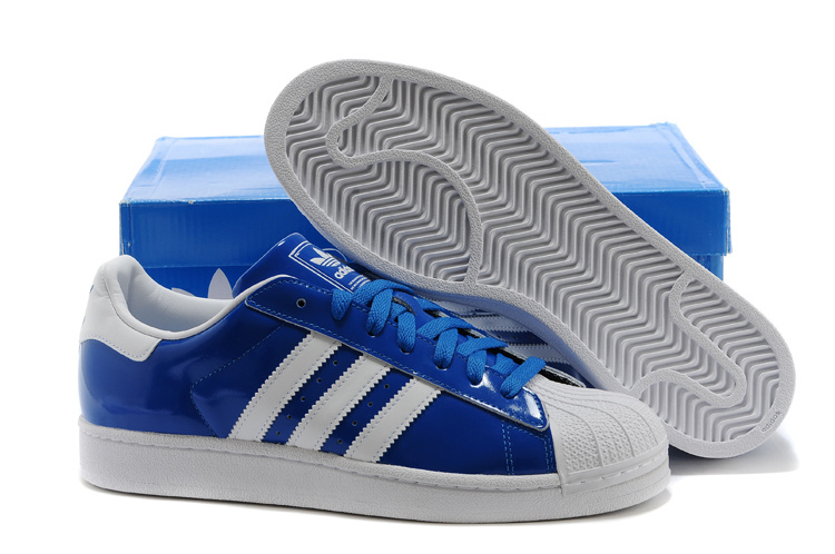Men's/Women's Adidas Originals Classic Superstar 2 Casual Shoes BLUE WHITE D65603