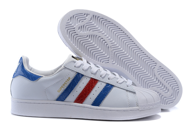 Men's/Women's Adidas Originals Superstar East River Casual Shoes White/Bold Blue/Metallic Gold B34310