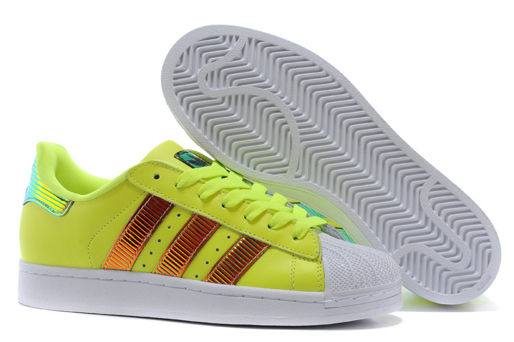 Men's/Women's Adidas Originals Classic Superstar SS Bling Casual Shoes Yellow / Running White D65617