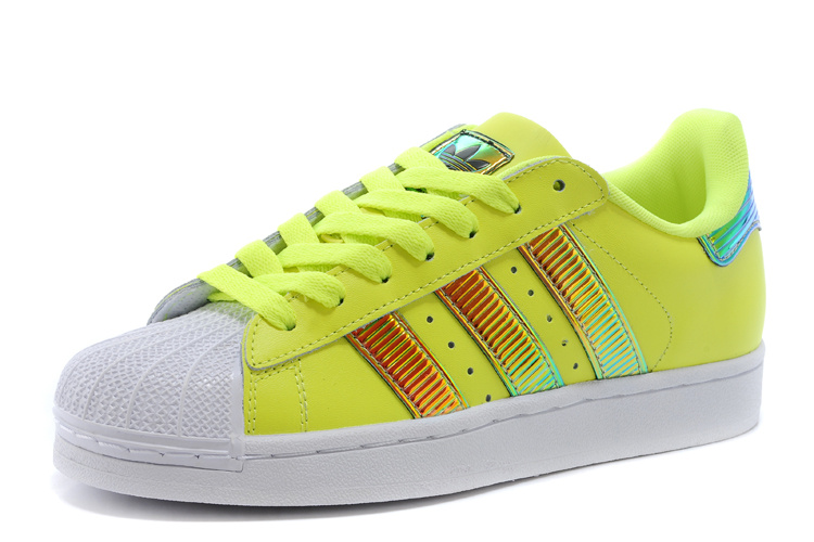 Men\'s/Women\'s Adidas Originals Classic Superstar SS Bling Casual Shoes Yellow / Running White D65617