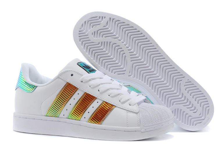 Men's/Women's Adidas Originals Classic Superstar SS Bling Casual Shoes White Brown Royal D65615