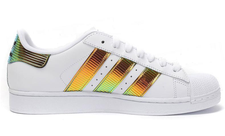 Men\'s/Women\'s Adidas Originals Classic Superstar SS Bling Casual Shoes White Brown Royal D65615