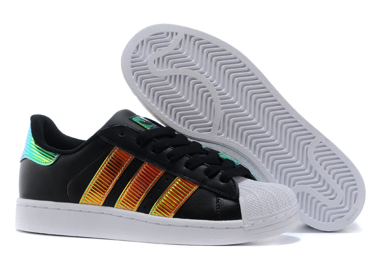 Men\'s/Women\'s Adidas Originals Classic Superstar SS Bling Casual Shoes Black/Gold D65616