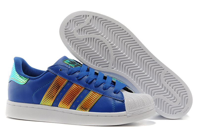 Men's/Women's Adidas Originals Classic Superstar SS Bling Casual Shoes Navy/Gold D65614