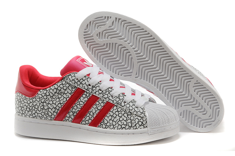 Men's/Women's Adidas Originals Superstar 2 Casual Shoes Pattern Grey Beauty Red D65478