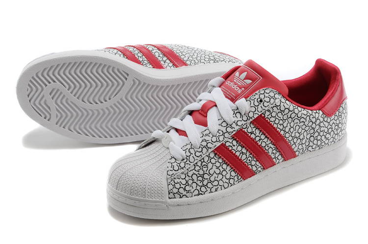 Men\'s/Women\'s Adidas Originals Superstar 2 Casual Shoes Pattern Grey Beauty Red D65478