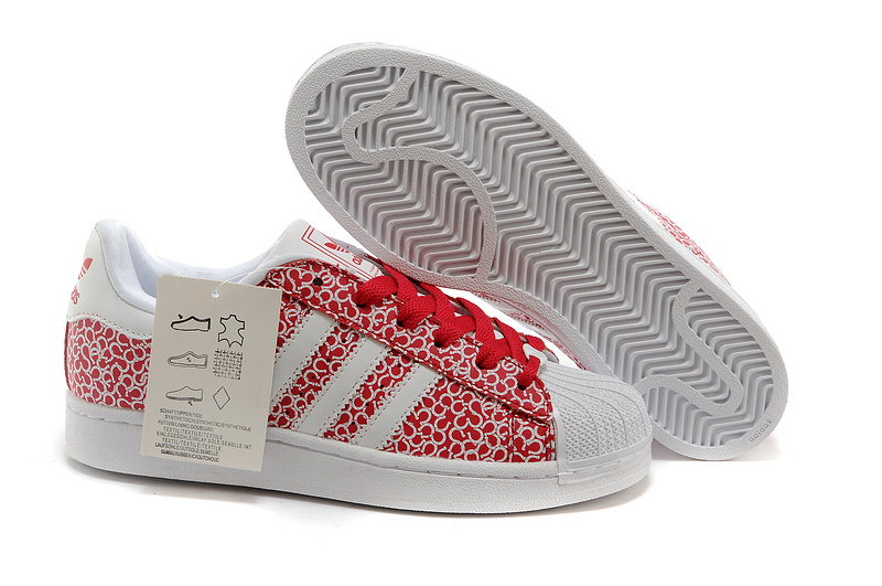 Women's Adidas Originals Superstar 2 Casual Shoes Pattern White Beauty Red D65477