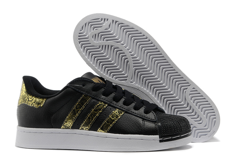 Men's/Women's Adidas Originals Superstar 2 Bling Casual Shoes Black Gold G62844