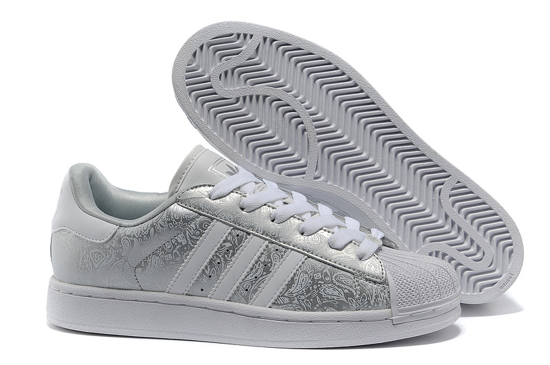 "Men's/Women's Adidas Originals Superstar 2 ""Phoenix Grain"" Casual Shoes Metallic Silver/Grey-White G63094"