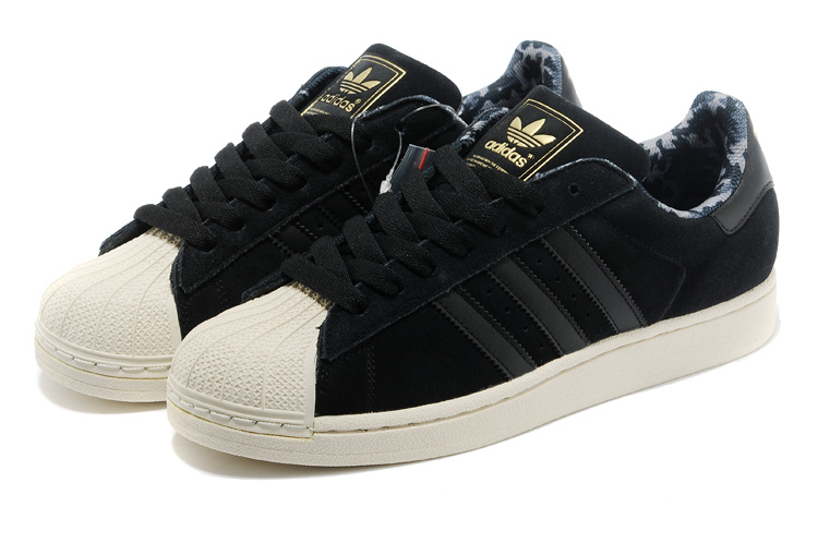 Men\'s/Women\'s Adidas Originals Superstar 2 Casual Shoes Black Gold D66091