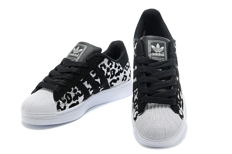 Men\'s/Women\'s Adidas Originals Superstar 2 Sparkles Casual Shoes Black Leopard G63439