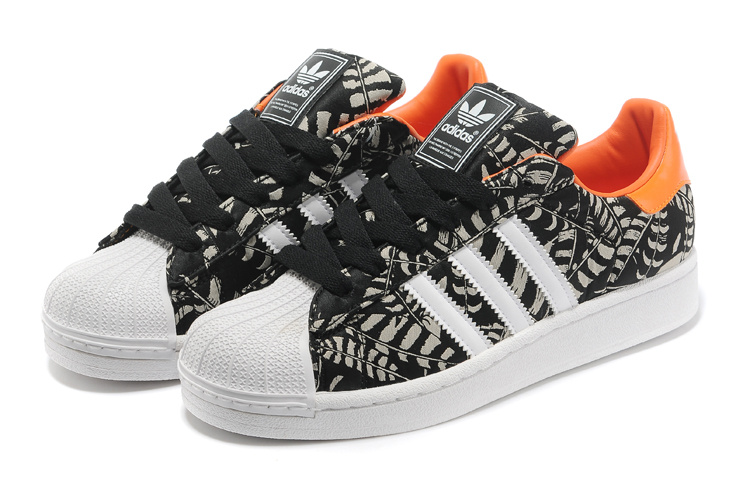 Men\'s/Women\'s Adidas Originals Superstar 2 Pattern Casual Shoes Black / Orange G97580