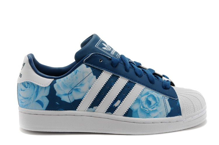 Women's Adidas Originals Superstar 2 Rose Floral Lifestyle Casual Shoes Blue/White D65475