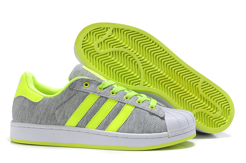 Men's/Women's Adidas Originals Superstar 2 Casual Shoes Grey Lime G17253