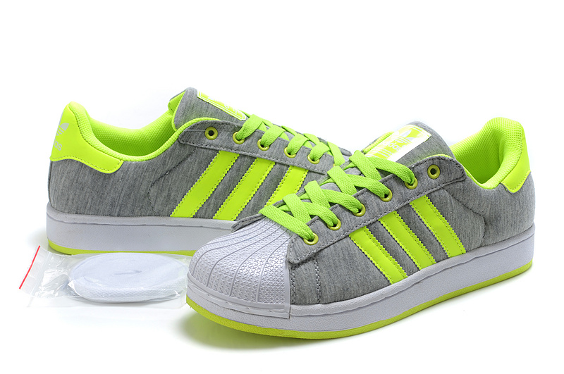 Men\'s/Women\'s Adidas Originals Superstar 2 Casual Shoes Grey Lime G17253
