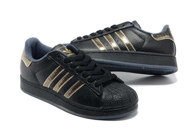 "Women\'s Adidas Originals Superstar 2 ""Bling Pack\"" Casual Shoes Black/Gold"