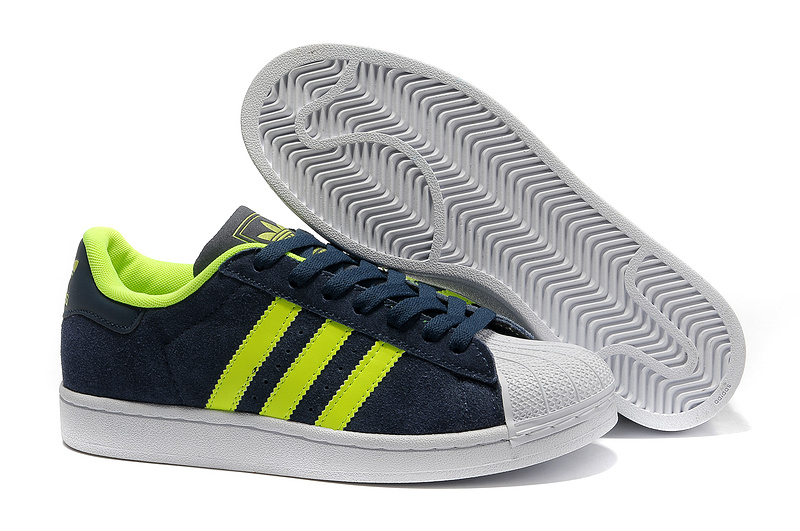 Men's/Women's Adidas Originals Superstar 2 Casual Shoes Navy/Lime