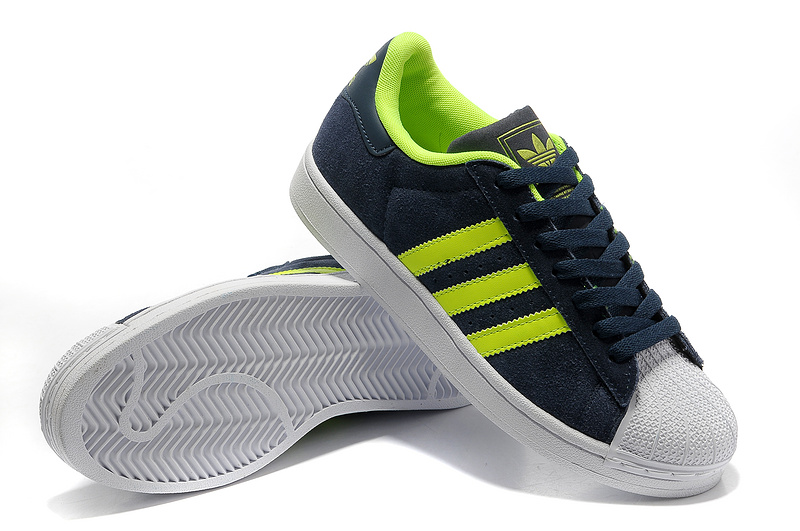Men\'s/Women\'s Adidas Originals Superstar 2 Casual Shoes Navy/Lime