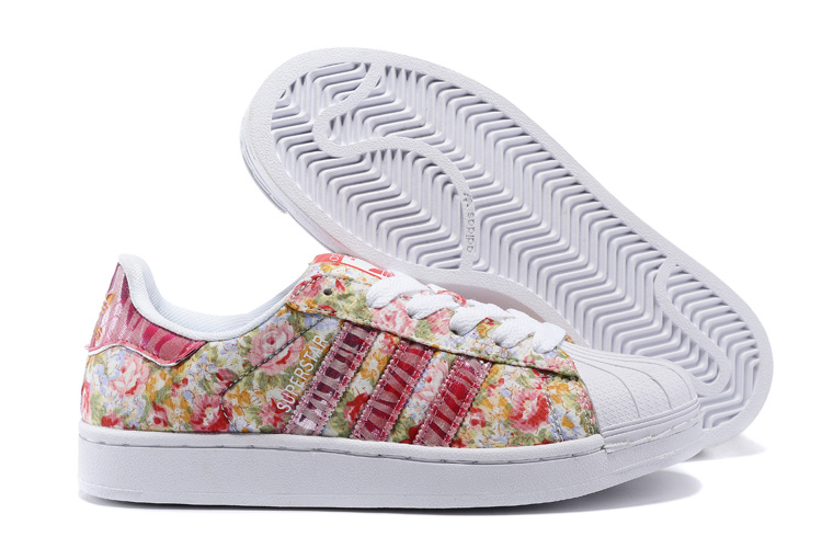 Women's Adidas Originals Superstar 2 Print Casual Shoes Pink/White