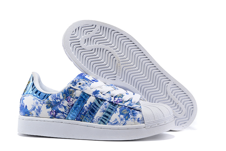 Women's Adidas Originals Superstar 2 Print Casual Shoes Blue