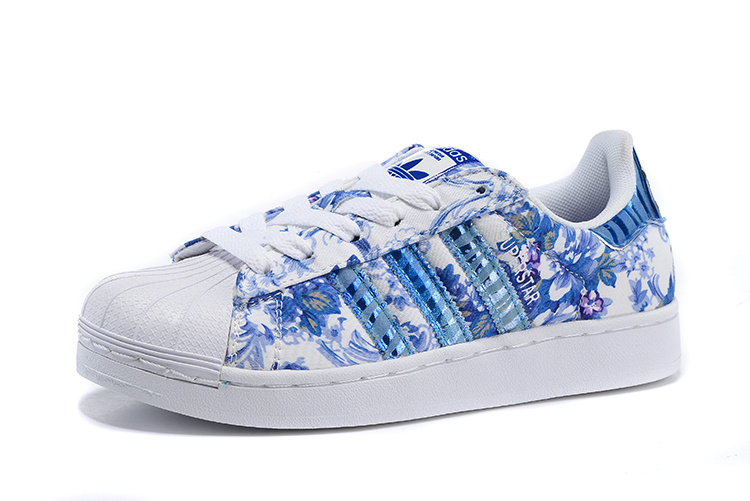 Women\'s Adidas Originals Superstar 2 Print Casual Shoes Blue