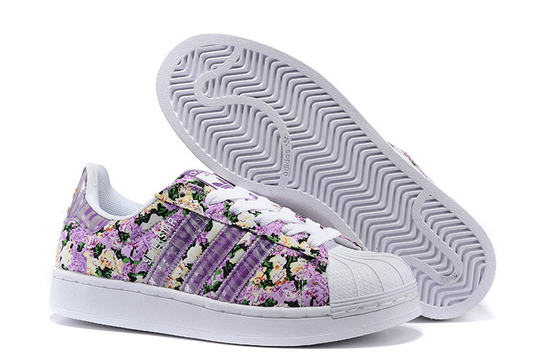 Women's Adidas Originals Superstar 2 Print Casual Shoes Purple