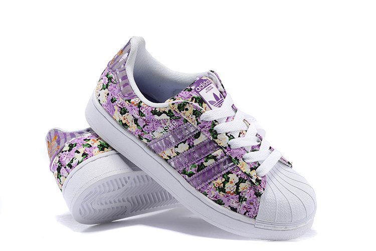 Women\'s Adidas Originals Superstar 2 Print Casual Shoes Purple
