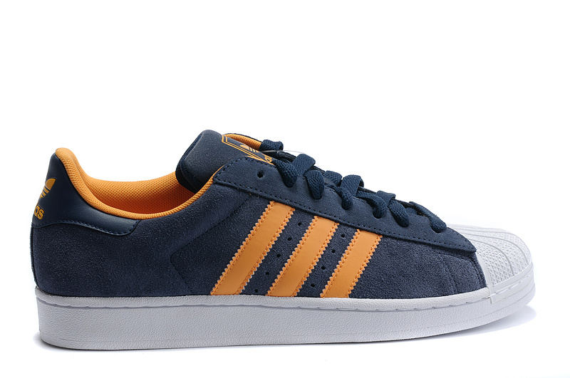 Men's/Women's Adidas Originals Superstar 2 Casual Shoes Dark Indigo/Hal Orange/White V22967