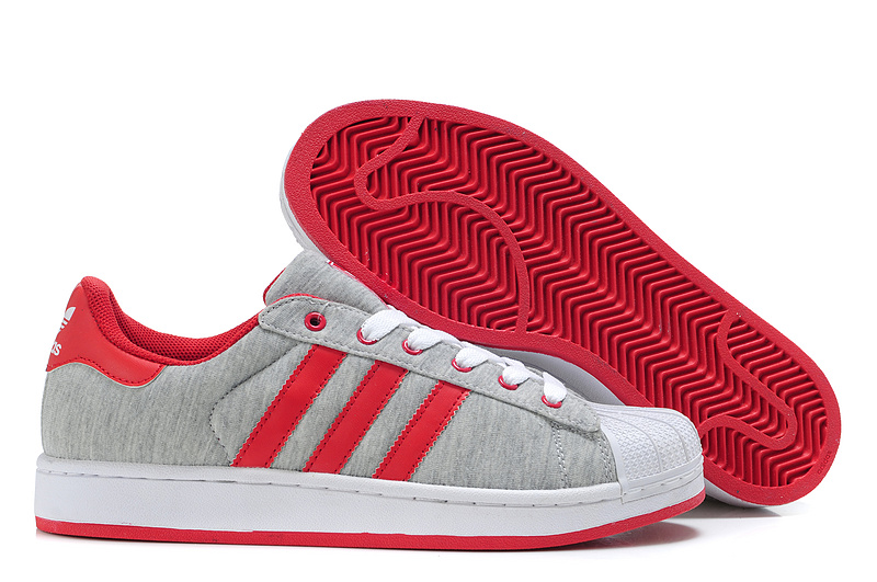 Women's Adidas Originals Superstar 2 Casual Shoes Grey/Red G17252