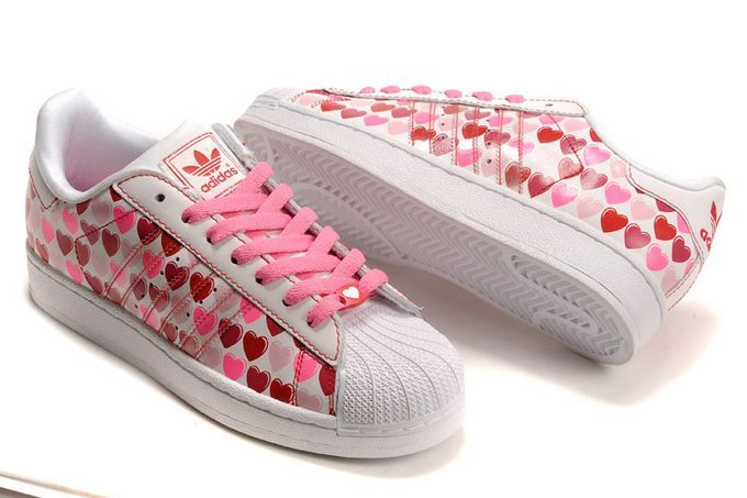Women's Adidas Originals Superstar 2 Hearts Print Casual Shoes Pink/White 060158