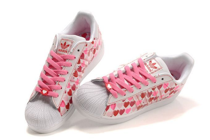 Women\'s Adidas Originals Superstar 2 Hearts Print Casual Shoes Pink/White 060158