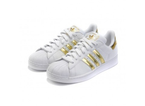 Men\'s/Women\'s Adidas Originals Superstar II Shoes Running Shoes White/Gold