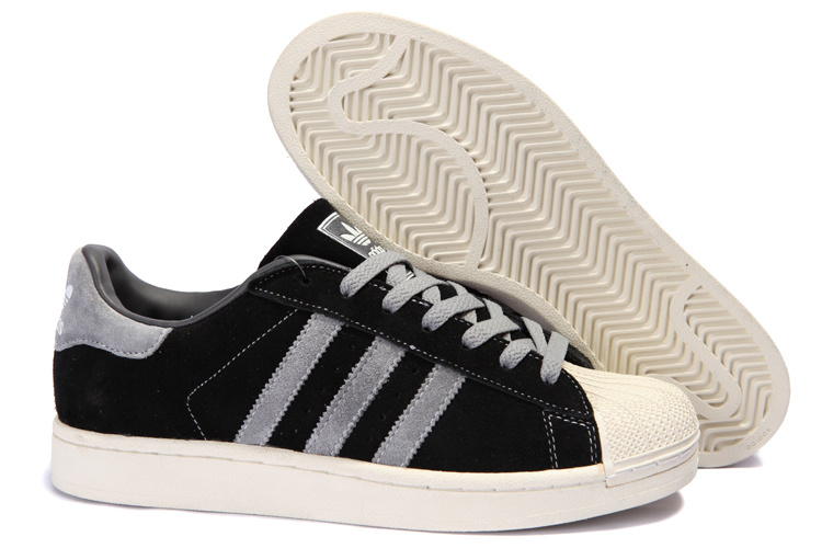 Men's Adidas Originals Superstar 2 Casual Shoes Black/Grey 096976