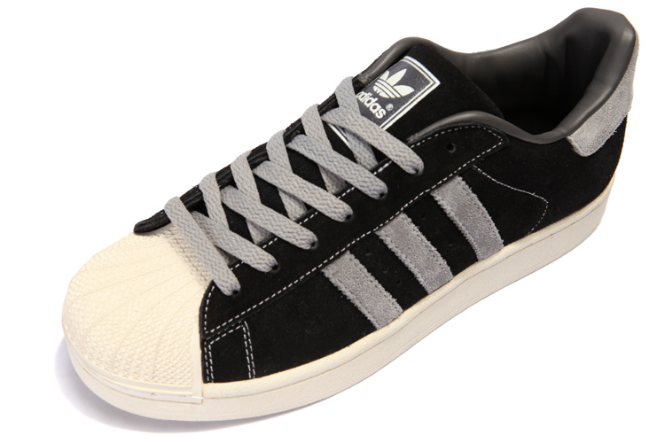 Men\'s Adidas Originals Superstar 2 Casual Shoes Black/Grey 096976