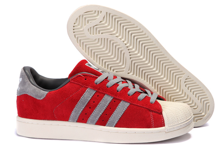 Women's Adidas Originals Superstar 2 Casual Shoes Red/Grey 096986