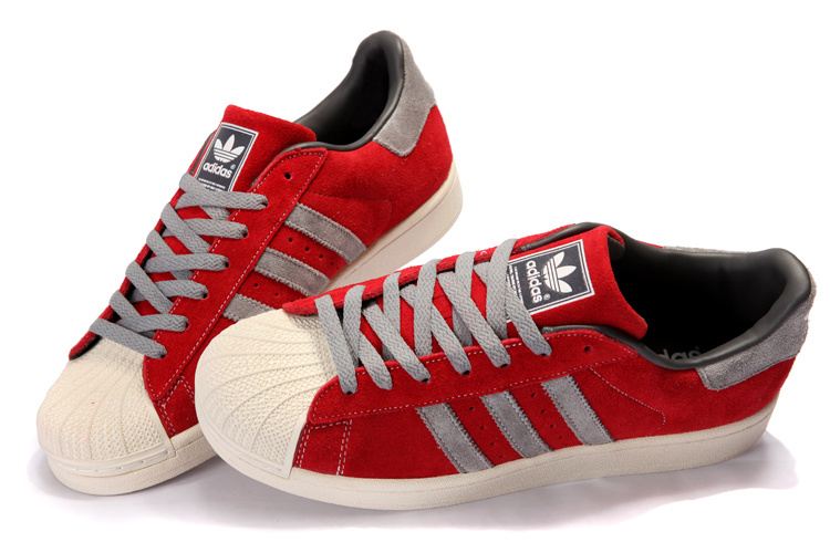 Women\'s Adidas Originals Superstar 2 Casual Shoes Red/Grey 096986