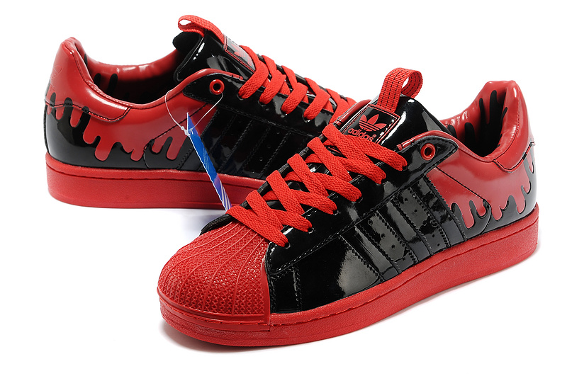 Women\'s Adidas Originals SS Enml 1 Superstar Enamel Drip Casual Shoes Black/Red G28357