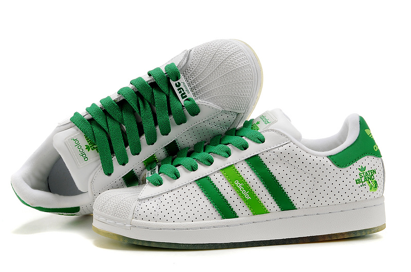 Men's/Women's Adidas Originals Superstar Adicolor Casual Shoes White/Green