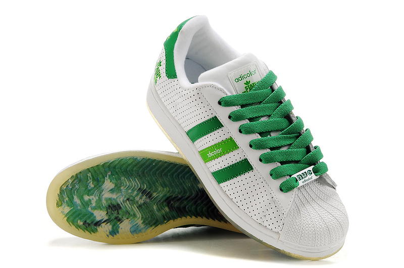 Men\'s/Women\'s Adidas Originals Superstar Adicolor Casual Shoes White/Green