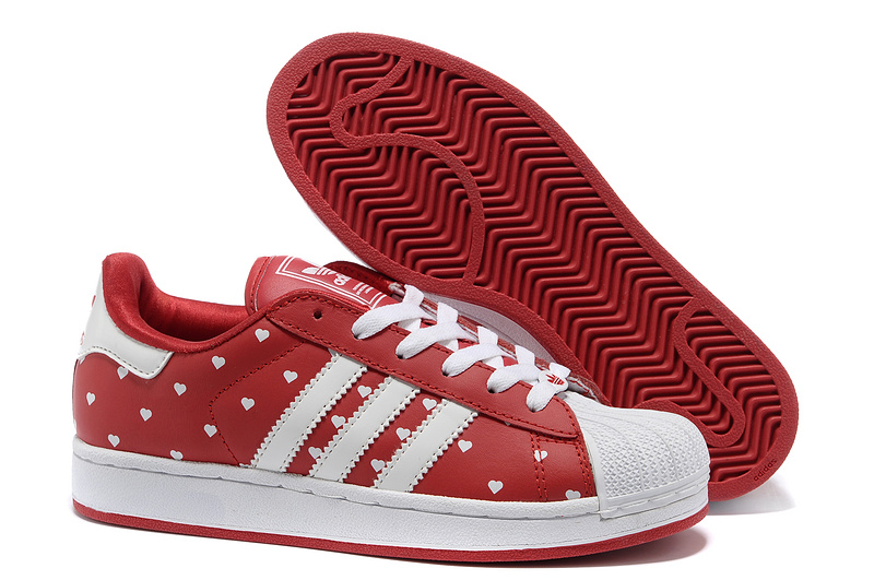 "Women's Adidas Originals Superstar 2 ""Heart"" Print Casual Shoes Red/White G63092"