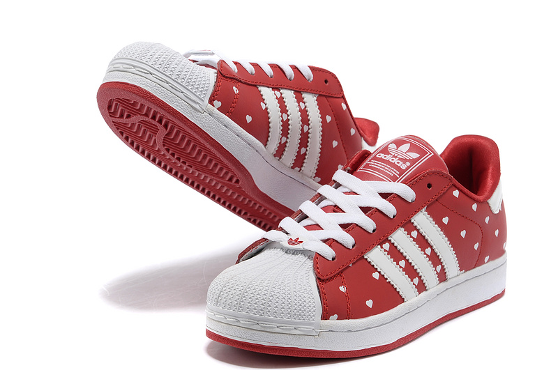 "Women\'s Adidas Originals Superstar 2 ""Heart\"" Print Casual Shoes Red/White G63092"