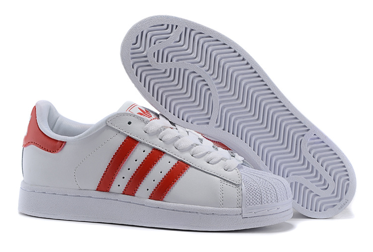 Men\'s/Women\'s Adidas Originals Superstar 2 Casual Shoes White/Red G09879