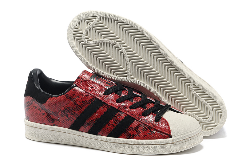 Men's/Women's Adidas Originals Superstar 80s CNY Snake Casual Shoes Cardinal/Black Q35133