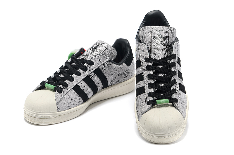 Men\'s/Women\'s Adidas Originals Superstar 80s CNY Snake Casual Shoes Silver/Black Q35134