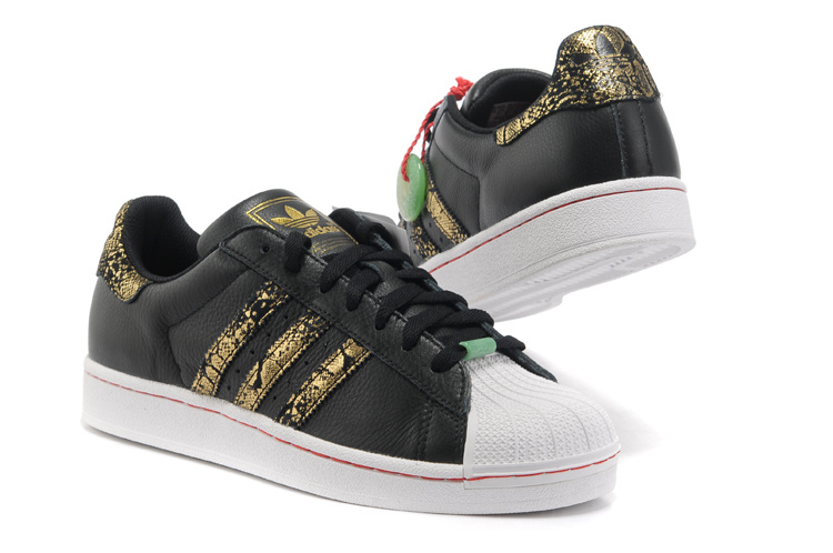 Men\'s/Women\'s Adidas Originals Superstar 2 CNY Casual Shoes Black/Gold Q35135