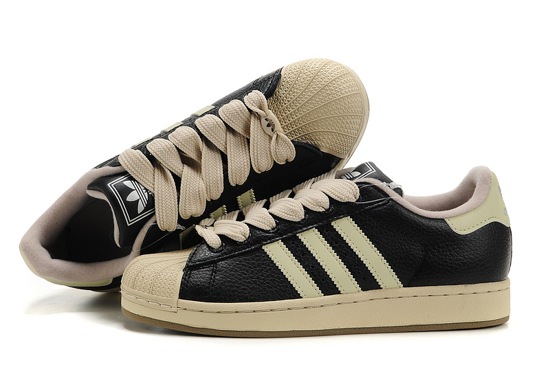 Men's/Women's Adidas Originals Superstar 2 Casual Shoes Black/Beige 465174