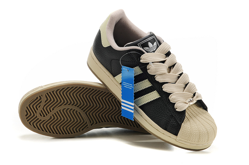 Men\'s/Women\'s Adidas Originals Superstar 2 Casual Shoes Black/Beige 465174